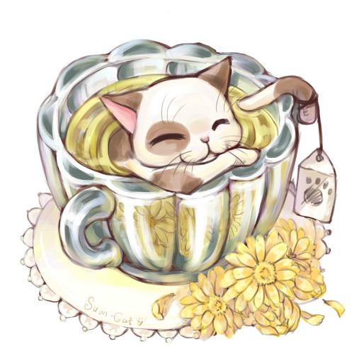 чашка чая, трогательный