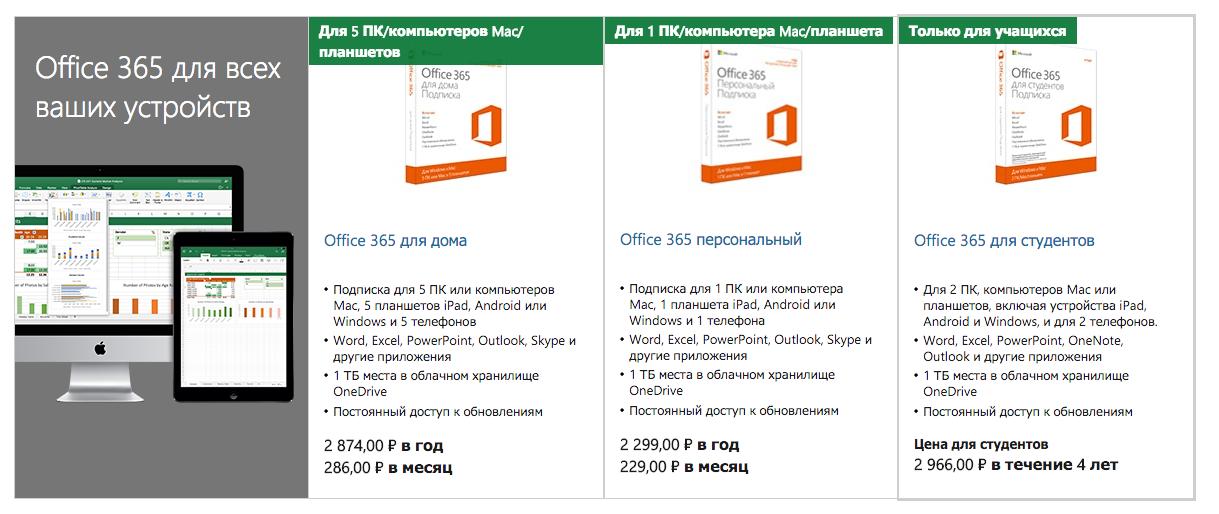 Цены на подписку office 2016