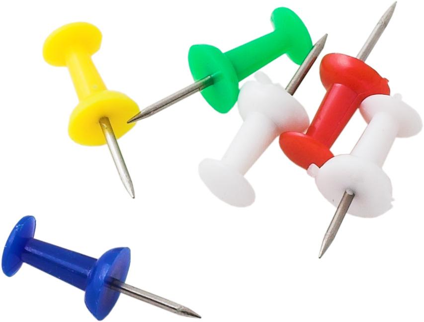 Купить кнопки канцелярские гвоздики (булавки) цветные