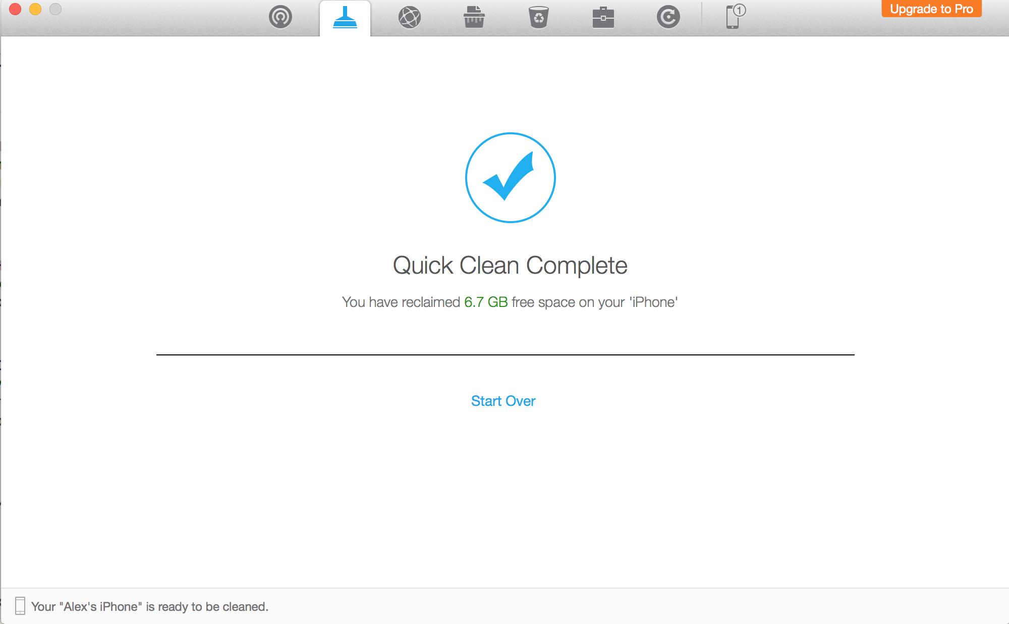 Удаление ненужных файлов на iPhone завершено