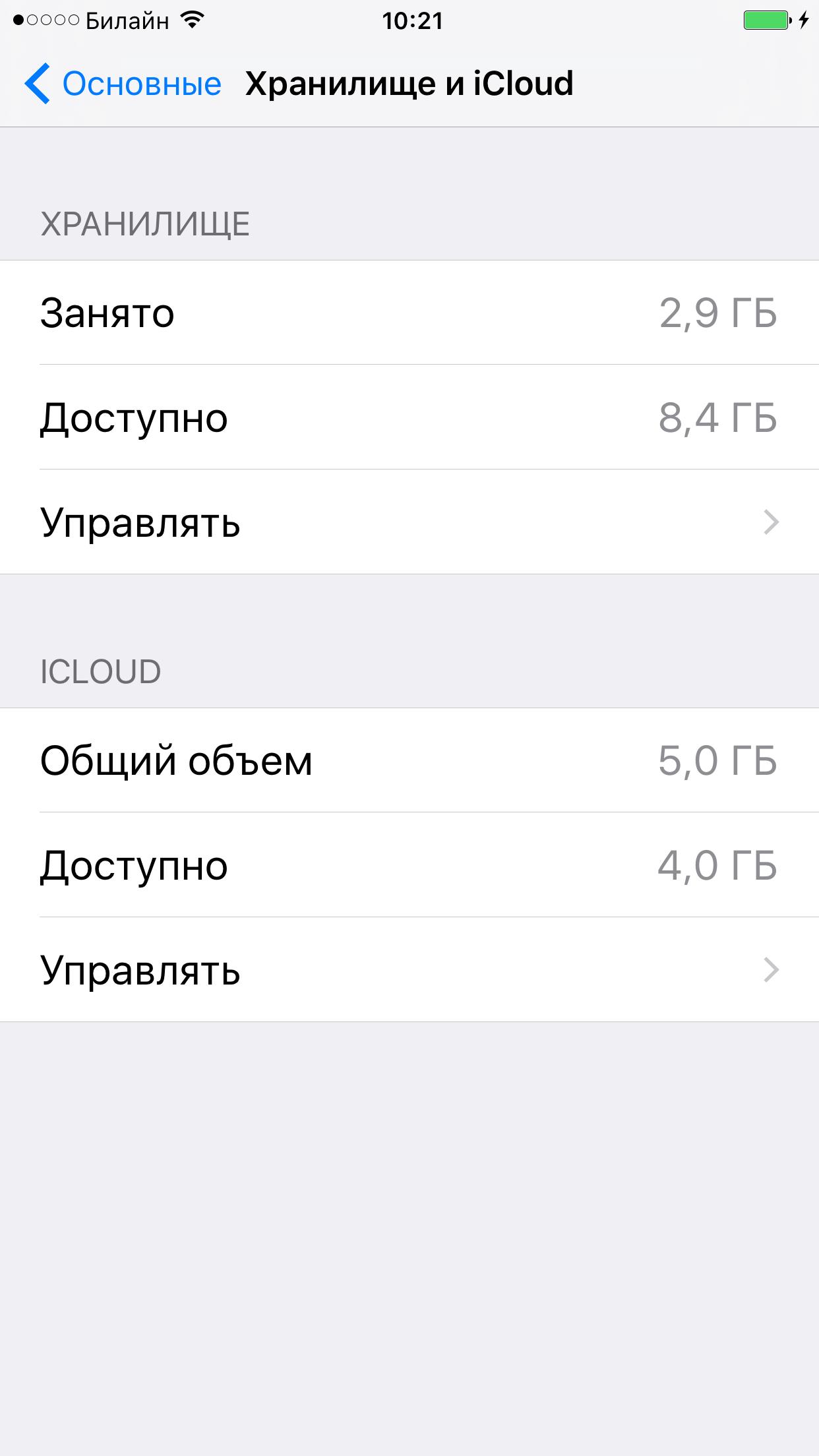 Хранилище на iPhone после очистки