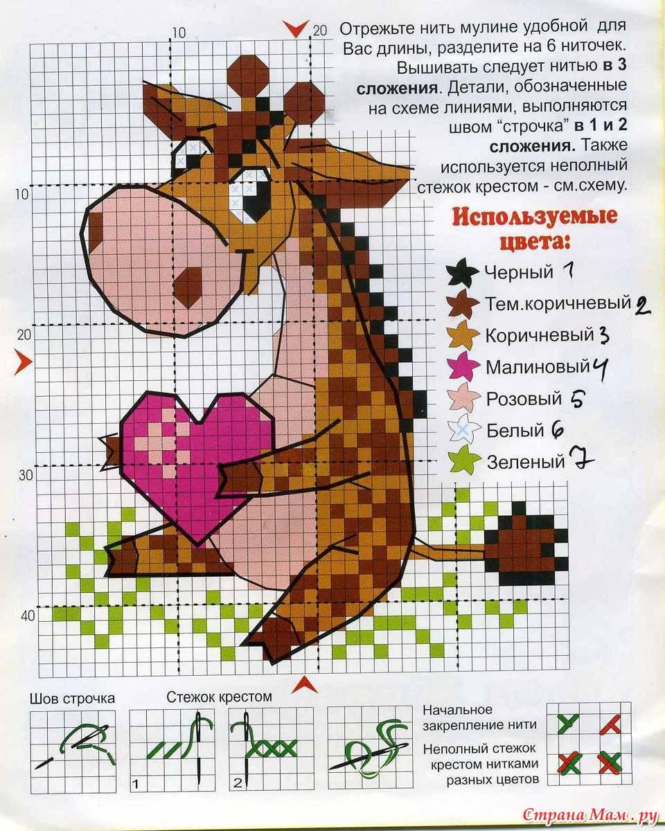 Схема вышивки жирафа