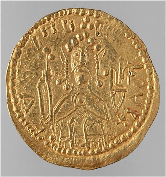 Володимир Святославич на монеті (златнику) власного карбування. Фото — Юрий (pike_YY).