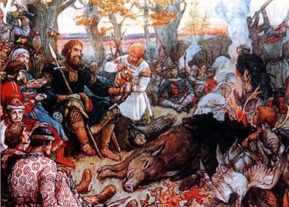 Віктор Васнецов (1900). Відпочинок великого князя Володимира Мономаха після полювання.