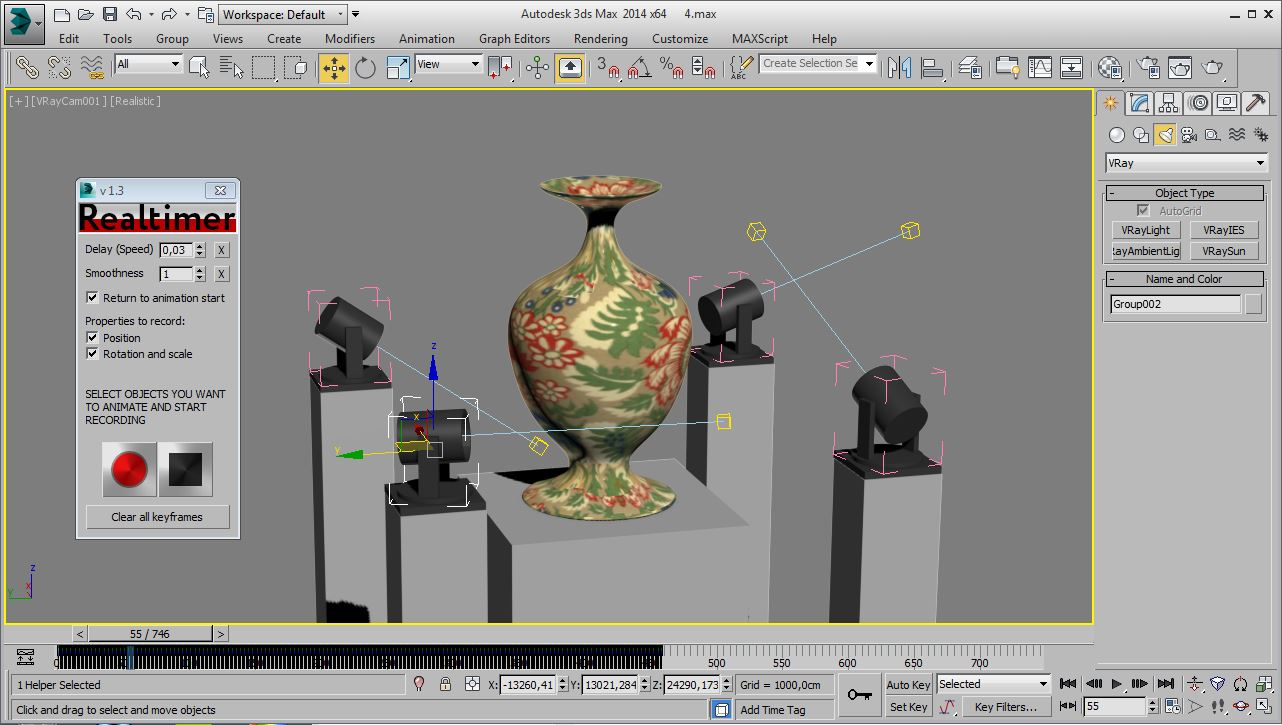 Realtimer plug-in screenshot of vase in 3Ds Max