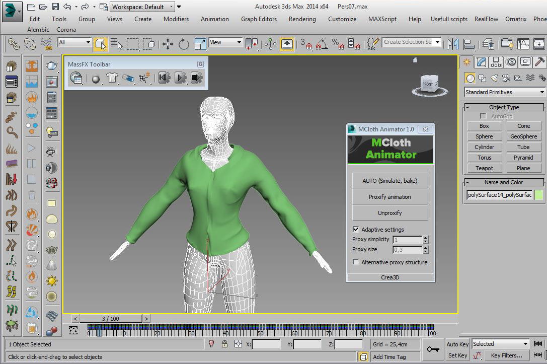 MCloth Animator for 3ds max screenshot