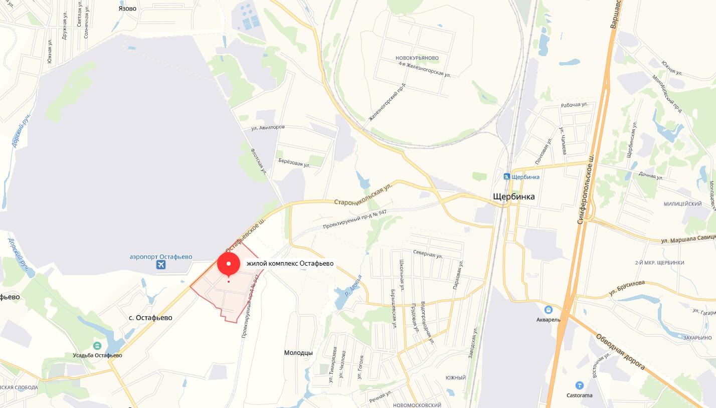 ЖК Остафьево на карте МО