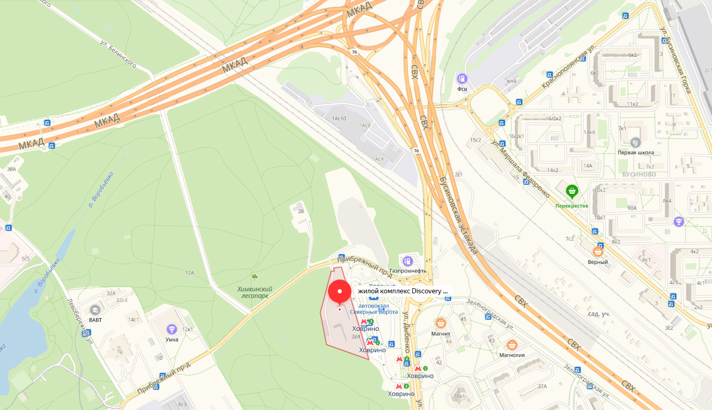 ЖК Дискавери Парк на карте Москвы