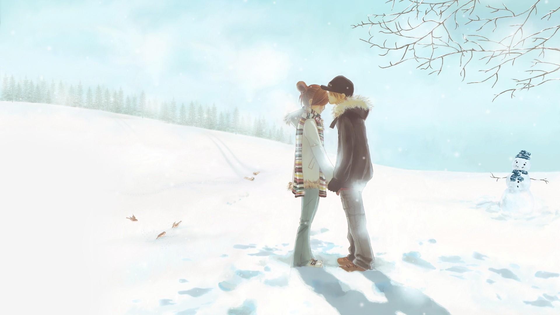 Снег лес девушка картина без смс