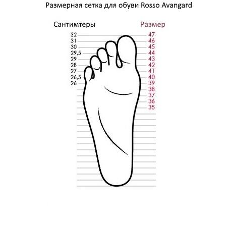 Размерная сетка для больших размеров мужской обуви Rosso Avangard