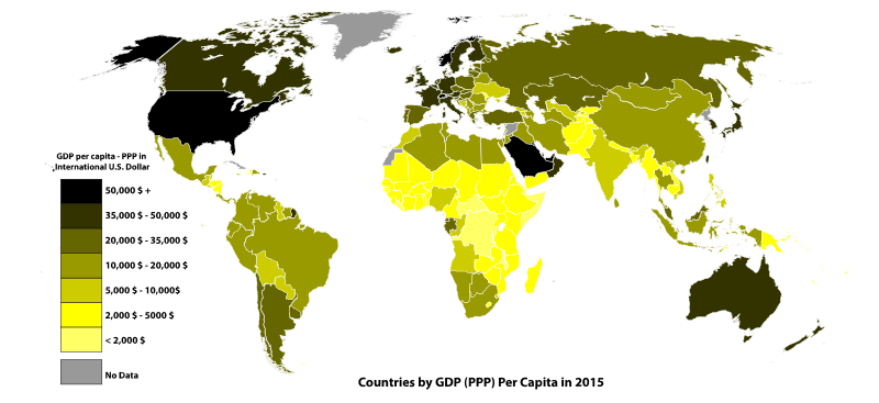 On this map the data about 196 countries' GDP (PPP) per capita are presented