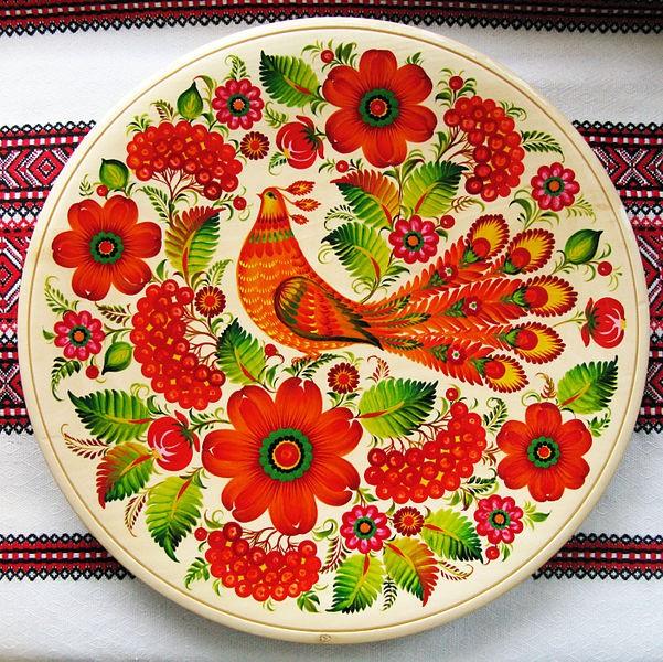 Ліана СКЛЯР (2016). Таріль із петриківським розписом «Птаха в саду».