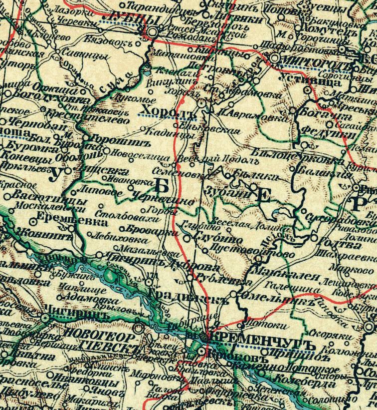 Розташування міста Крилова (мапа імперської доби).