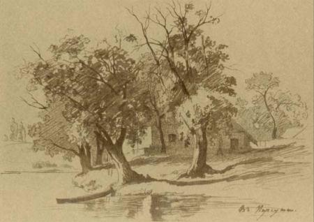 Тарас Шевченко (1859). «В Корсуні». Папір, туш, перо.