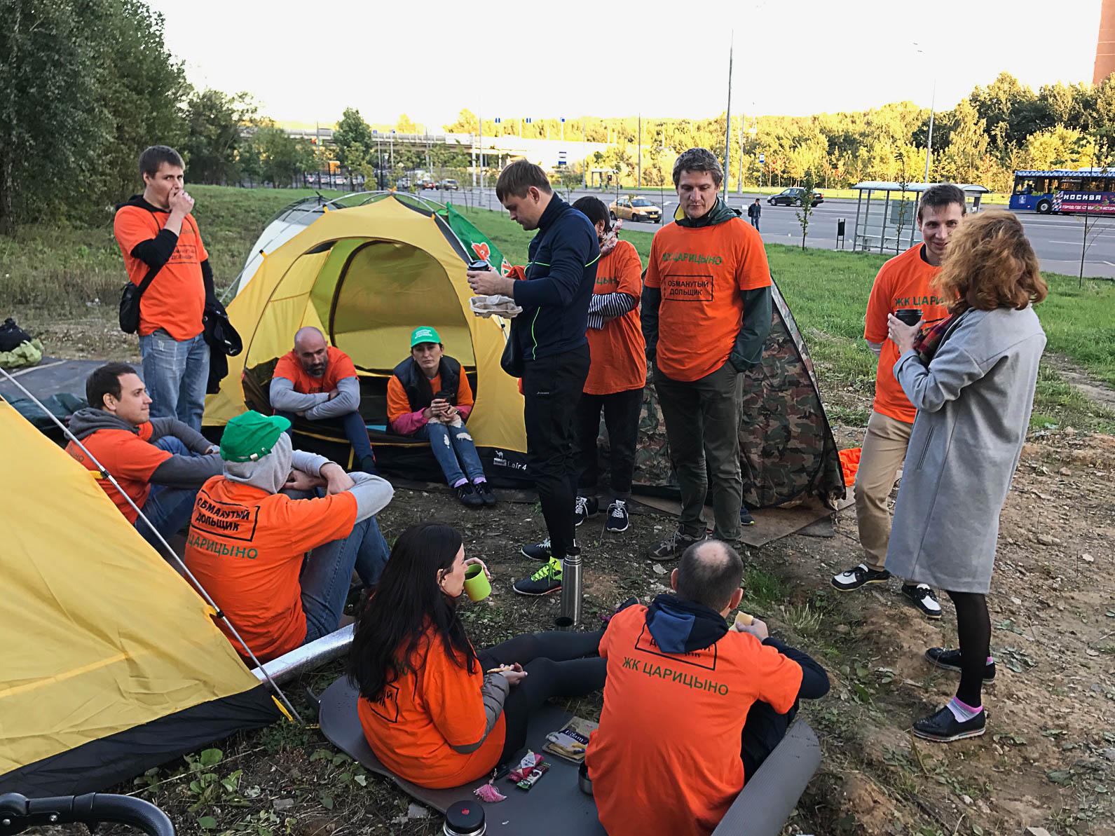 Обманутые дольщики ЖК «Царицино» вынуждены жить в палатках