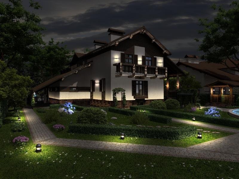 красивое освещение дома