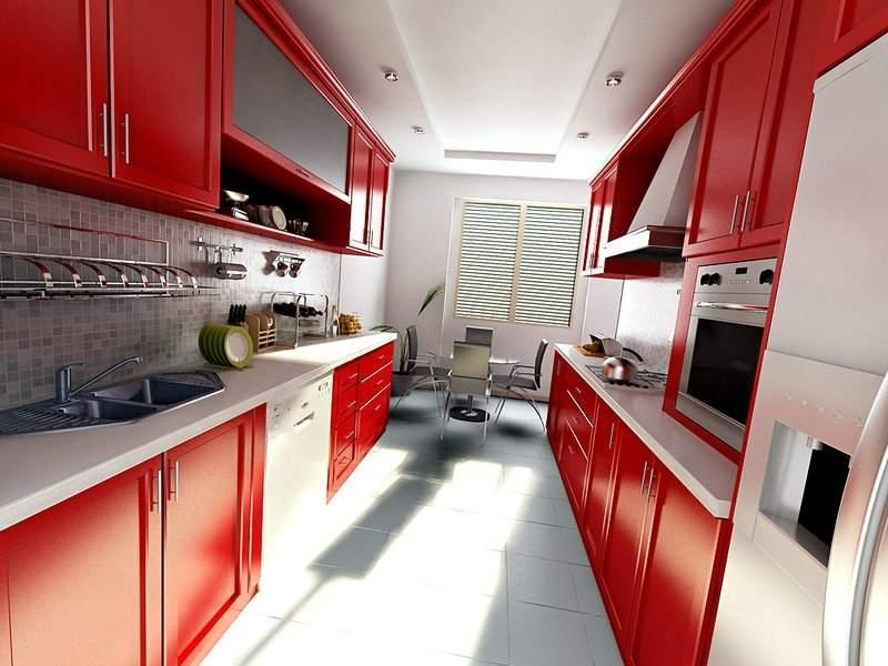 Узкая кухня разных цветовых вариантов