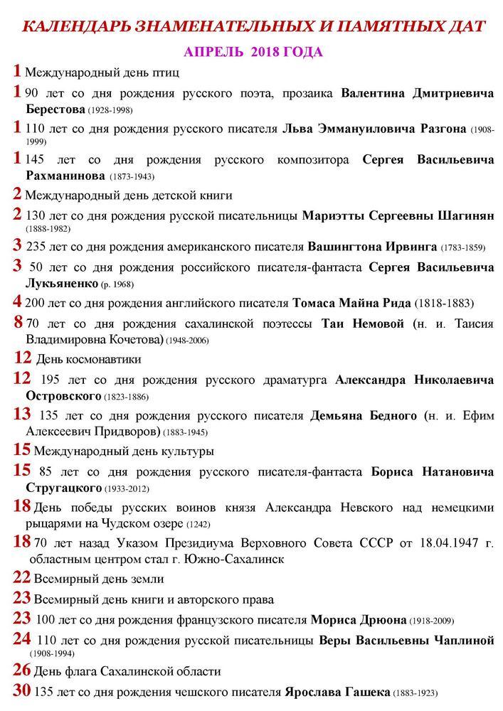 Календарь знаменательных и памятных дат апрель 2018 год