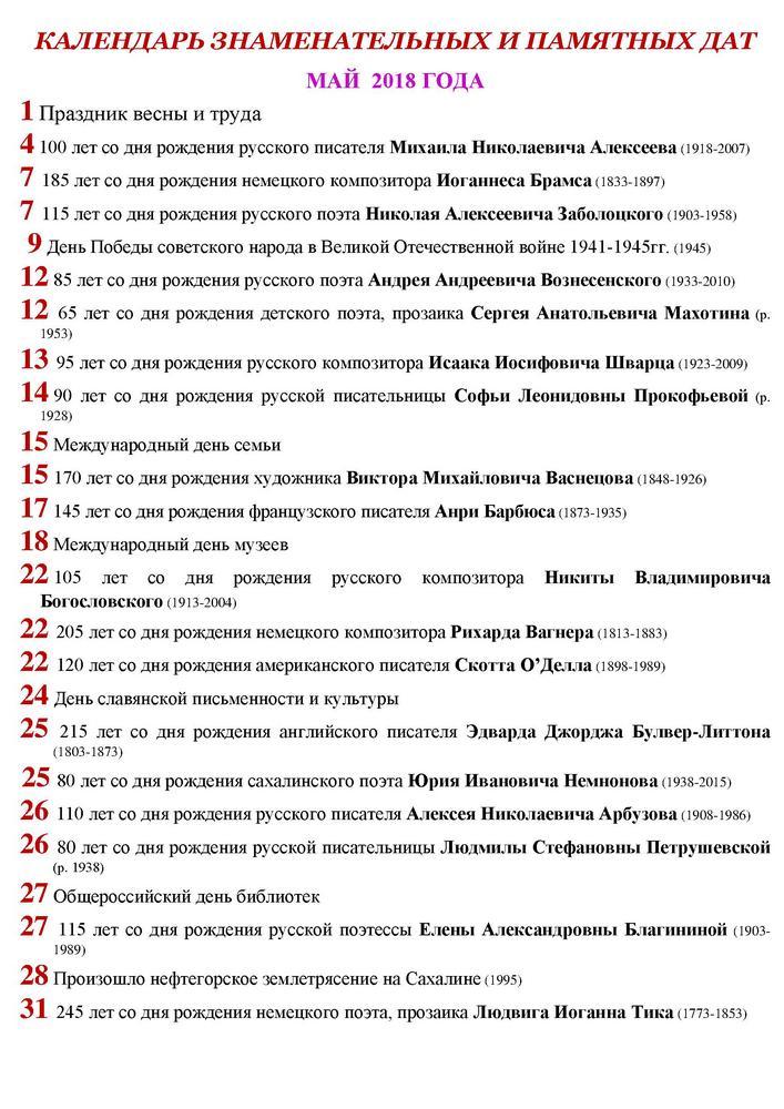 Календарь знаменательных и памятных дат май 2018 год