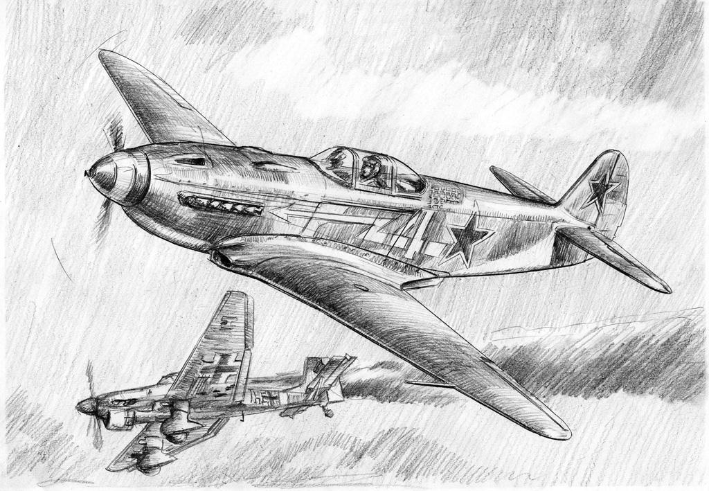Рисунки карандашом самолетов второй мировой войны