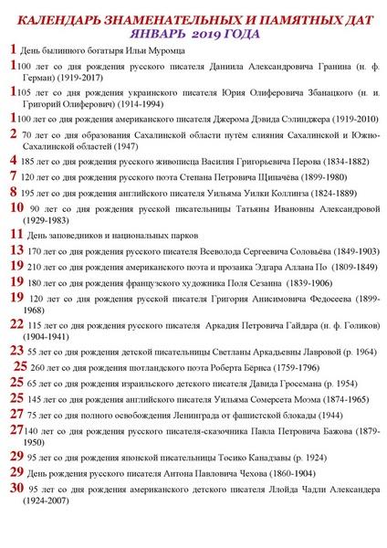 Календарь знаменательных и памятных дат январь 2019 год