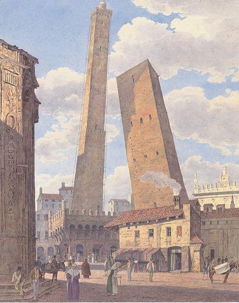 Якоб Альт (близько 1836). «Дві вежі, Азінеллі та Гарізенда, у Болоньї»