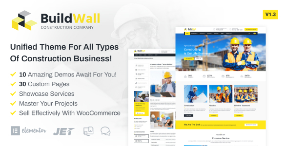 BuildWall - Construction Company Elementor WordPress Theme