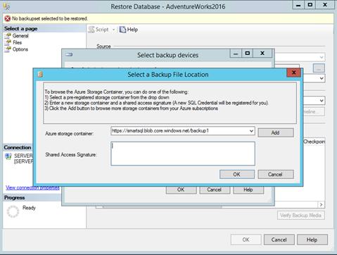 Использование Azure для бэкапа и восстановления SQL Server фото №13