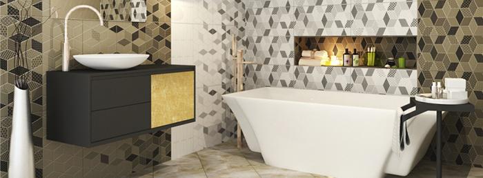Керамическая плитка-мозаика в ванной комнате