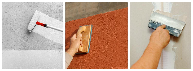 Процесс выравниваюя стен поэтапно