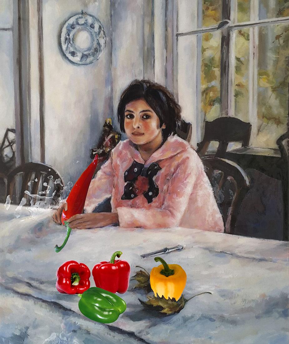 Картинка девочка с персиками серов