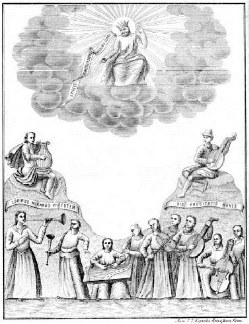 Ілюстрація з віршованого панегірика архімандритові Єлецького монастиря Тимофію Максимовичу від учнів Чернігівського колегіуму, написаного польською мовою (1730)