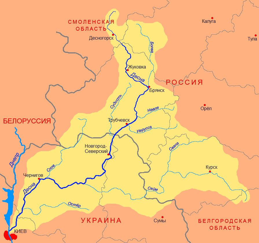 Схема басейну Десни