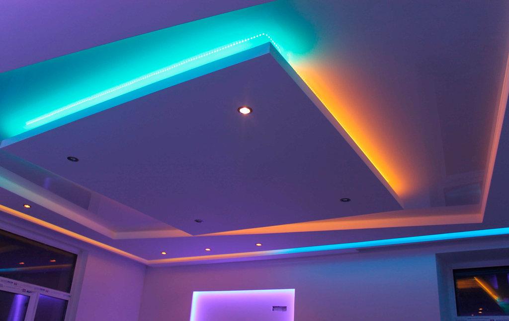 Лед лента многоуровневый потолок фото