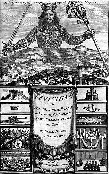 """Frontispiece of """"Leviathan"""" (1651) by Thomas Hobbes."""