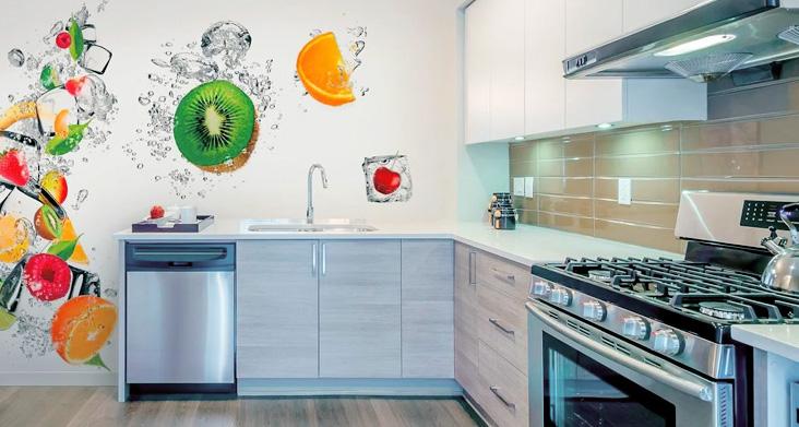 обои на кухне современный дизайн фото