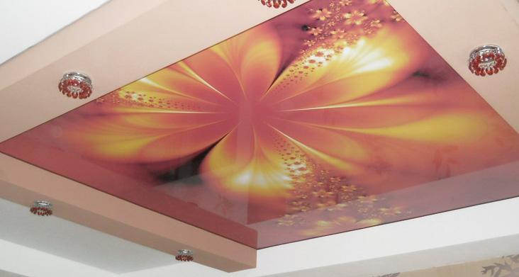виды натяжных потолков для кухни — с рисунком фото