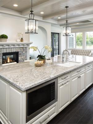 какую столешницу подобрать к белой кухне — столешница из природного камня фото