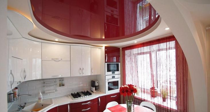 виды натяжных потолков для кухни — двухуровневый фото