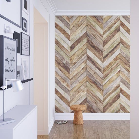 Chevron - Harringbone - Wood - Removable Wallpaper - Wood Wallpaper - Peel and Stick - Fabric Wallpa.jpg