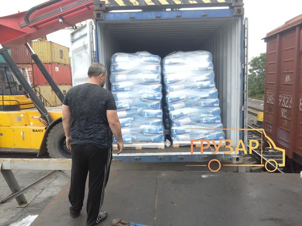 выгрузка контейнера и вагона