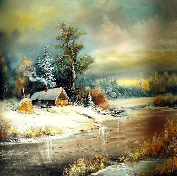 Александр Леднев. Скованная льдом река....jpg
